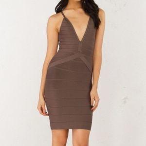 Akira | Brown Until Tonight Bandage Dress